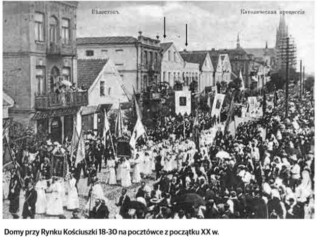 Rynek Kościuszki 22 i 24. Lampy Jagustów i kapelusze Kapelusznika