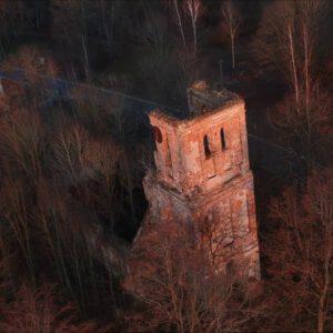 Ruiny w Mieruniszkach. To był kiedyś kościół ewangelicki i sortownia poczty.